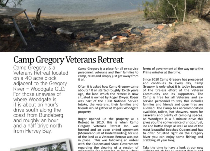 Camp Gregory featured an article in 'the last post' magazine